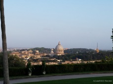 View of the dome of St. Peter's Basilica from Villa Miani, an event venue on Monte Mario