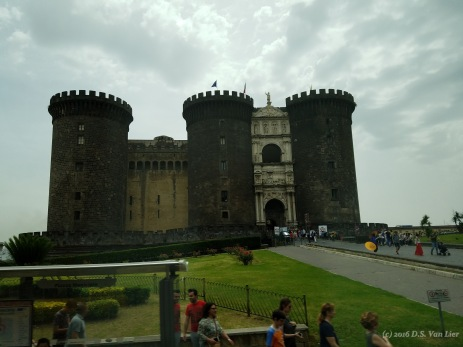 "Castel Nuovo (""New Castle""), also called Maschio Angioino (Italian: ""Angevin Keep"") in Naples"