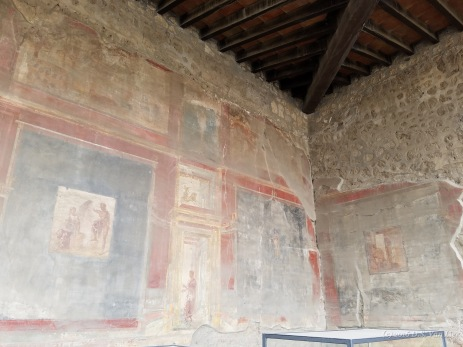 Surviving frescoes in a building in Pompeii