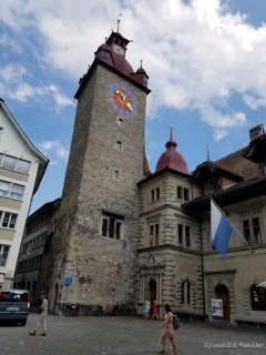 The Town Hall clock tower in Lucerne, Switzerland