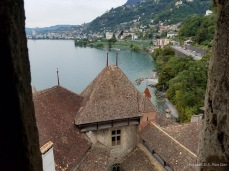 View of Veytaux and Montreux from the tower of Château de Chillon on Lake Geneva.