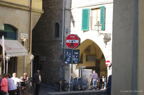 "A ""Do Not Enter"" sign with decals by Clet Abraham (Florence)"