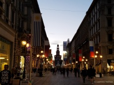 A shopping street in Milan