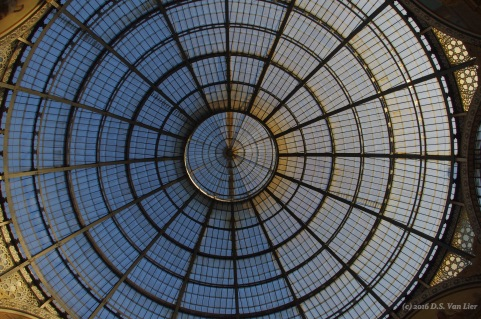 Center ceiling at the Galleria Vittorio Emanuele II, in Milan
