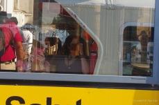 Self-portrait in a vaporetto window, Venice