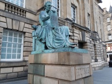 David Hume statue. It's said rubbing his toe brings good luck for exams