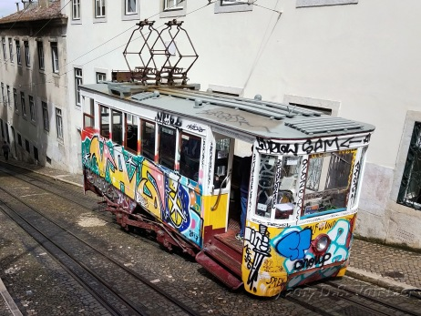 This trolley is still in operation. It was quite the contrast to the area around it.