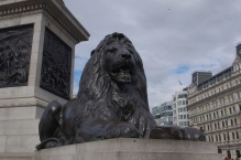 Lion at the base of Nelson's Column in Trafalgar Square