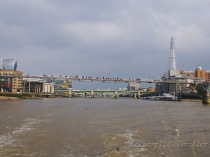 """Millennium Bridge with the """"Walkie-Talkie"""" (left) and the Shard (right)in the distance"""