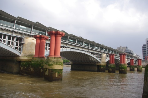 The pillars are the remain of the old bridge