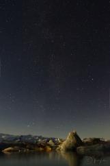 Night sky over Jökulsárlón Glacier Lagoon