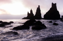 Reynisdrangar sea stacks from Reynisfjara beach