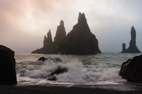 Reynisdrangar sea stacks from Reynisfjara beach